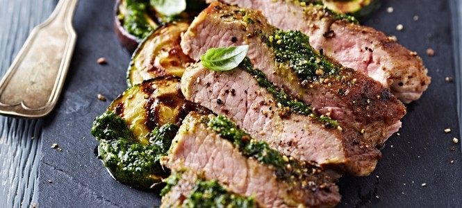 Grilled Pork with Salsa Verde and Zucchini